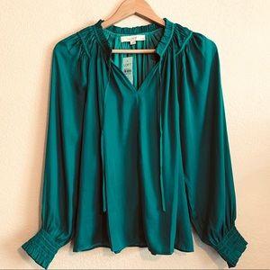 NWT Ann Taylor LOFT Vibrant Green Boho Chic Blouse
